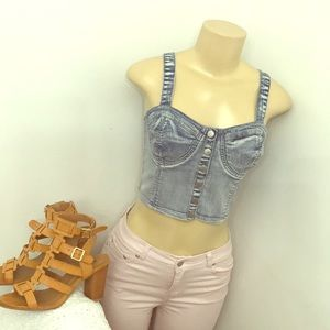 Forever21 denim crop buster size medium new